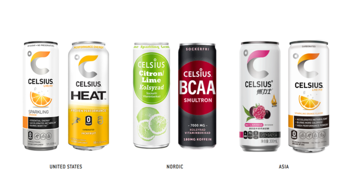 Six cans of Celsius beverages: two each marketed in the U.S., Nordic countries, and Asia.