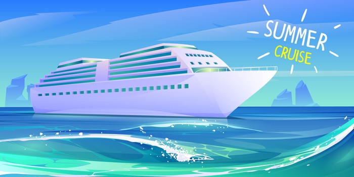 drawing of cruise ship on the water with a Summer Cruise sign above it