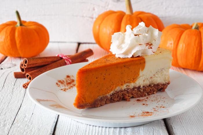 pumpkin cheesecake on a plate