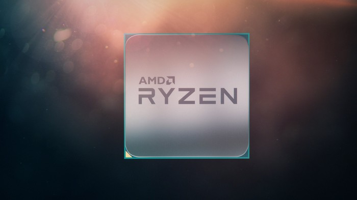 A central processing unit with the words AMD and Ryzen printed on the front.
