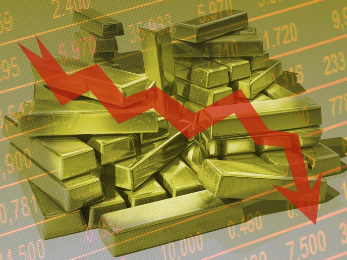 gold bars with red down arrow indicating price drop