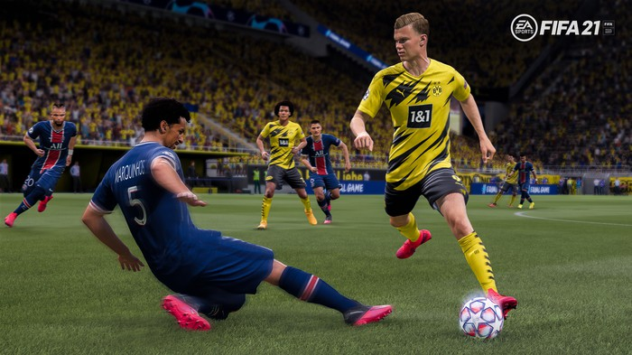 A screenshot from the Electronic Arts Fifa 21 video game shows soccer players in action.