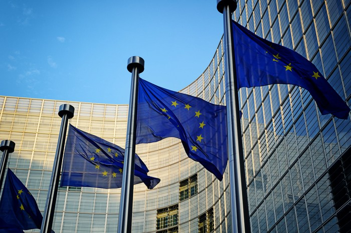 EU flags flying outside European Commission HQ