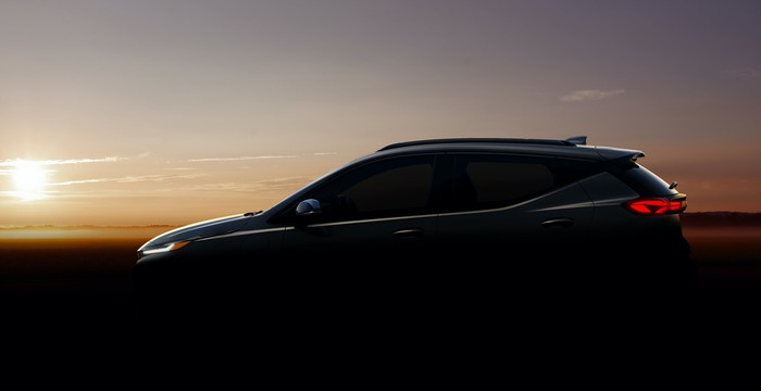 A teaser photo of the upcoming Chevrolet Bolt EUV crossover, with the vehicle shown in shadow.