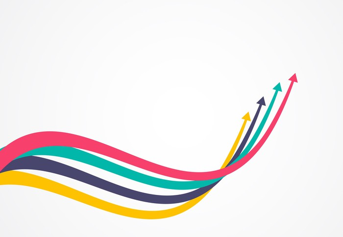 Multi-colored arrows on a grey background.