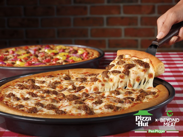 Beyond Pan Pizzas from Pizza Hut and Beyond Meat.