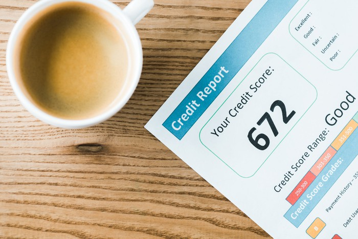 A credit report with a credit score next to a cup of coffee