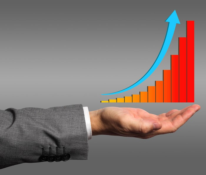 Graph on hand of a businessman
