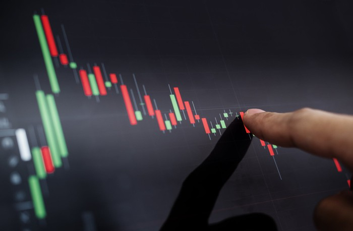 A person is pointing to a digital stock chart that rises sharply then falls.