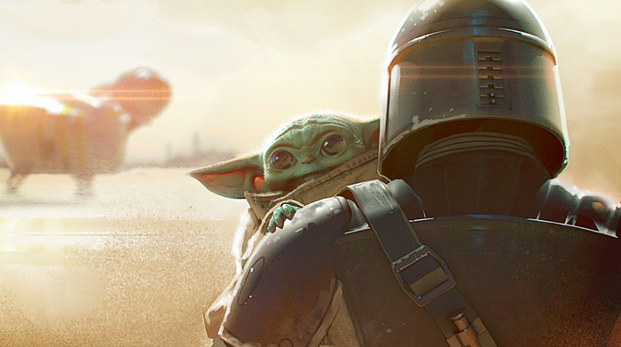 The Mandalorian and The Child from the sixth episode of Disney's The Mandalorian.