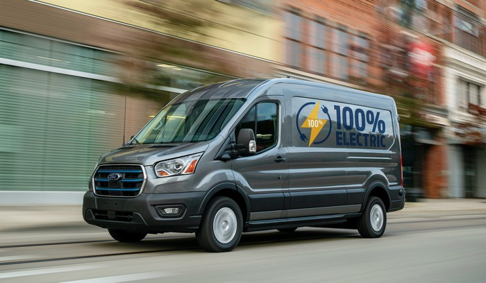 A midsize version of the Ford E-Transit, an electric commercial van.