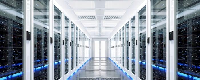 Data server racks in center