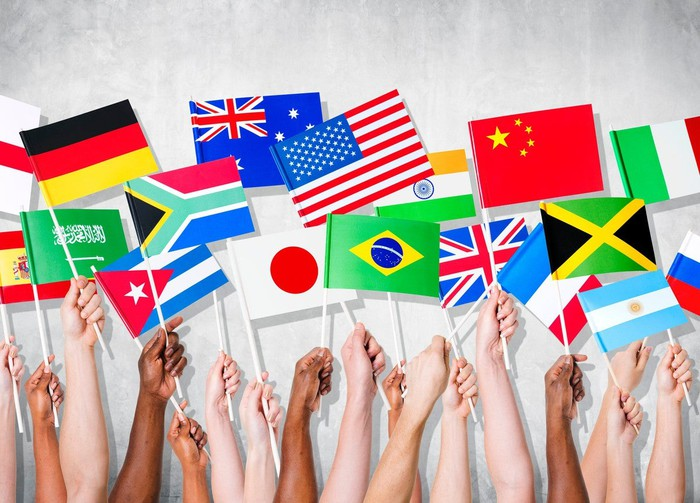 A dozen hands holding flags of various countries.