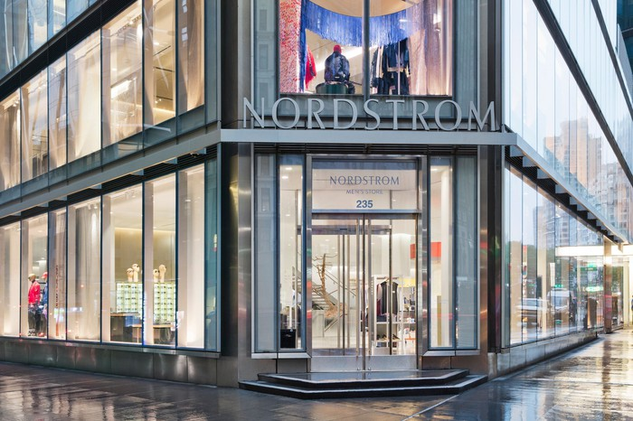 Exterior of main entrance to a Nordstrom store.