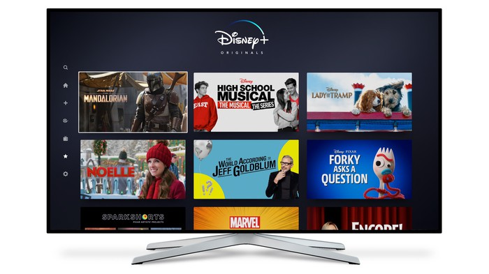 Disney+ streaming service on a TV.