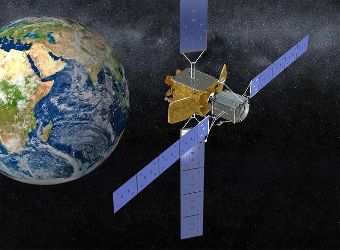 Northrop Grumman's MEV-1 space tug over Earth.