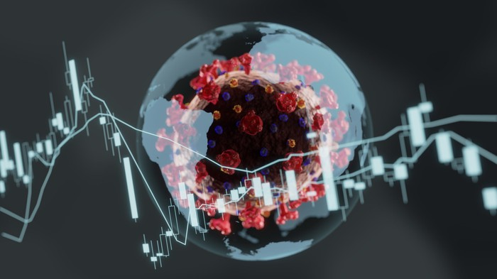 Stock chart in front of a globe with the coronavirus inside it