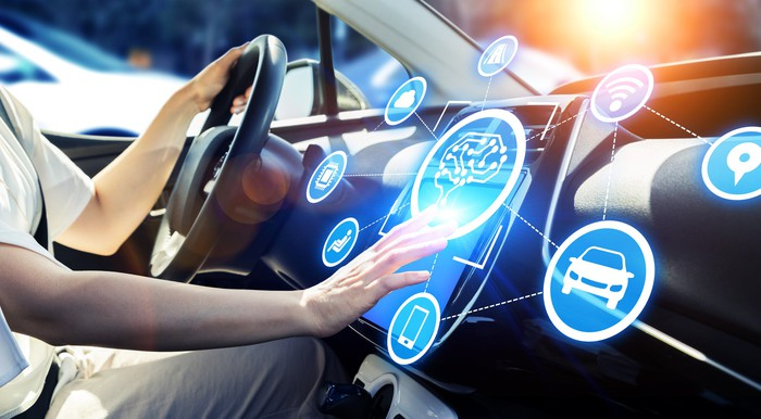 Driver's hand poised above touch screen in car's dashboard with various icons hovering around it