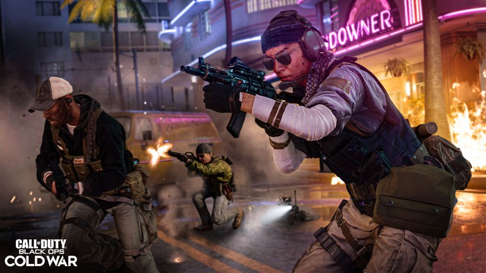 Characters holding and firing weapons in Activision Blizzard's latest Call of Duty game.