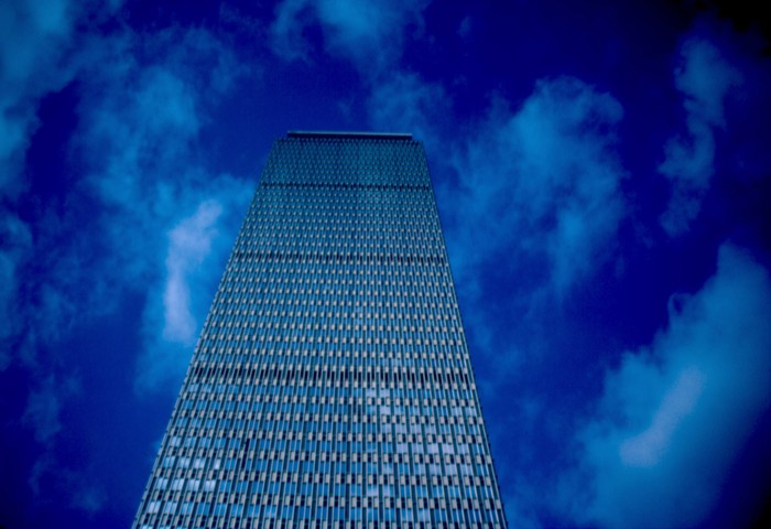 A view looking up at the Prudential Center in Boston.