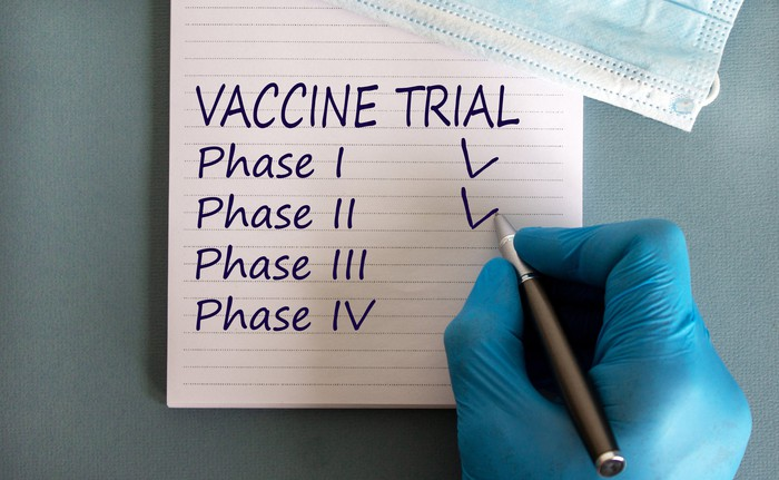 "A researcher's hand checks off ""phase 1 and 2"" on a vaccine trial list."