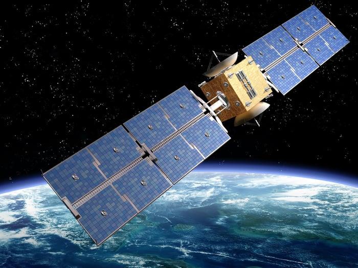 Satellite with solar panels orbiting