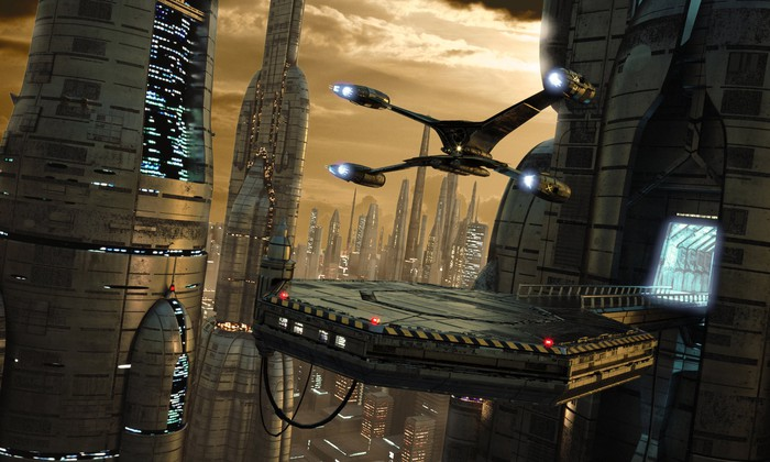 A generic science fiction scene with a quad-engine spaceship landing on a pad high in a huge high-tech city.