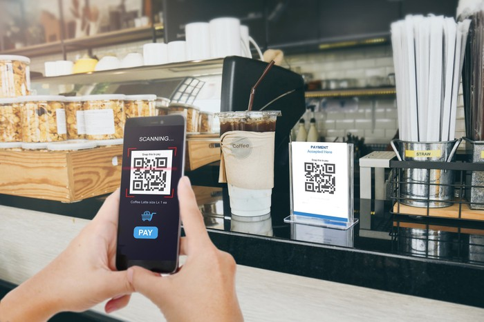 Person paying at a coffee shop using a QR code on a mobile phone.