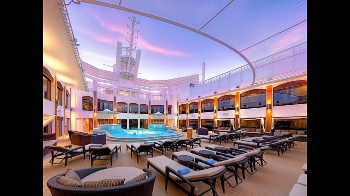 Exterior shot of the pool area for NCL's Haven passenger cabins.