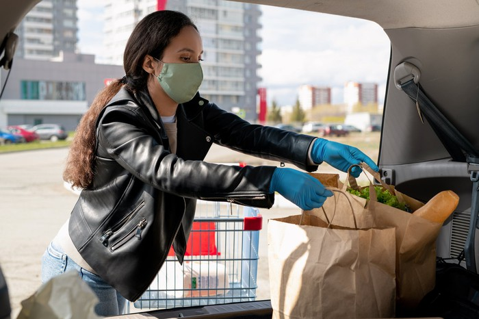 Woman with a mask putting grocery packages in a car.