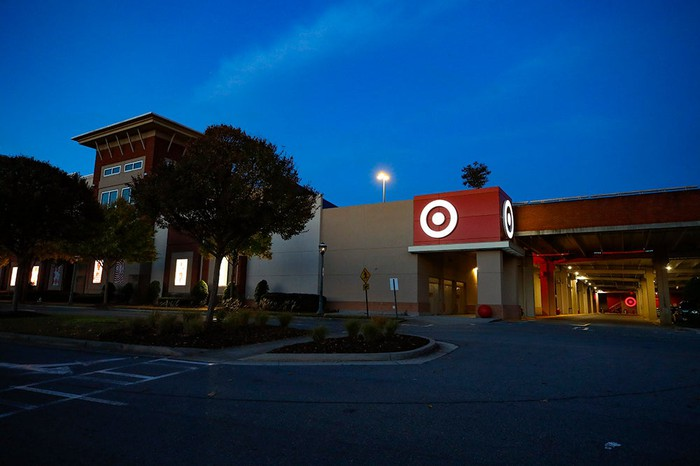 front of Target store at dawn