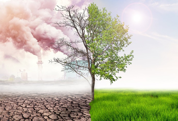 split picture of smokestack emissions and green grass and tree on the other side