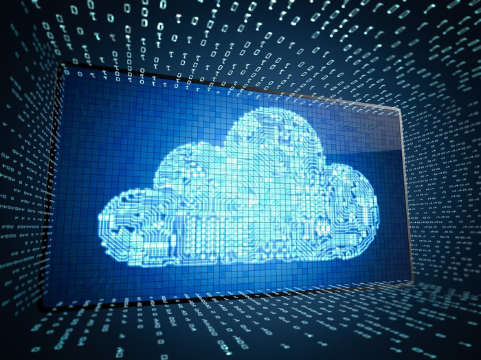 A cloud image on a screen interacting with data.