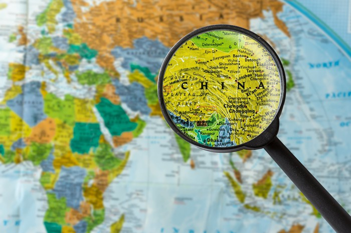 Map of China under a magnifying glass