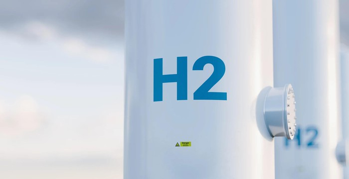 Hydrogen tanks with H2 on the side.