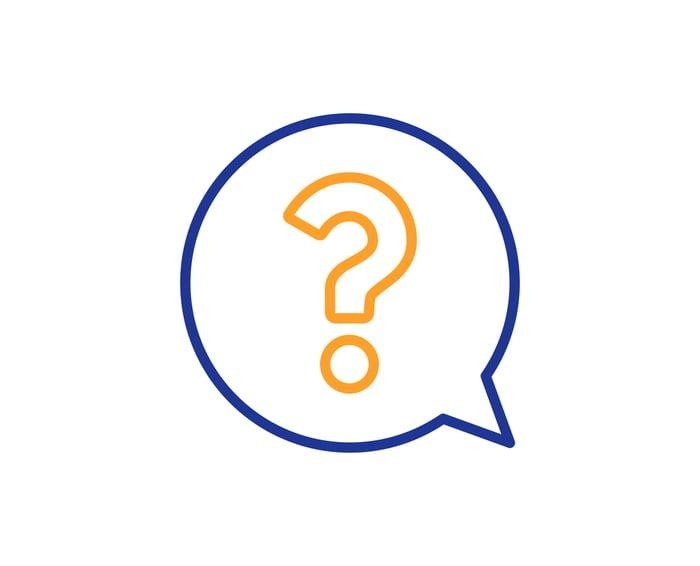 Question mark in a speech bubble.