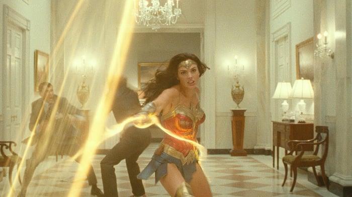 Wonder Woman holding her lasso.