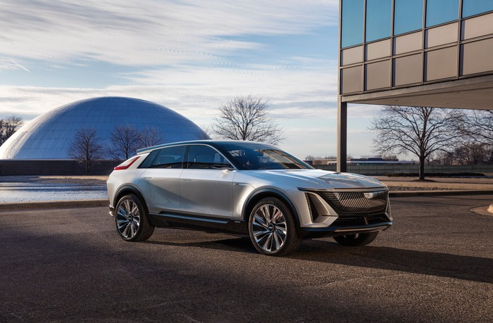 A silver prototype Cadillac Lyriq, an electric luxury SUV, at GM's technical center in Warren, Michigan.