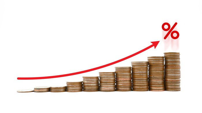 A rising stock chart shown as stacks of coins.