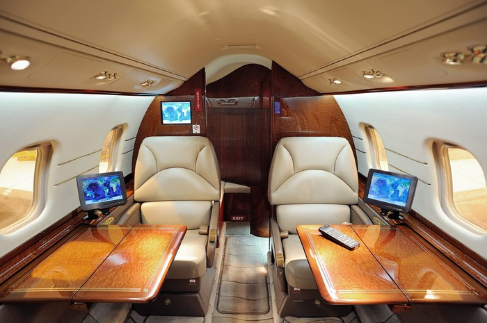The interior of a business jet.