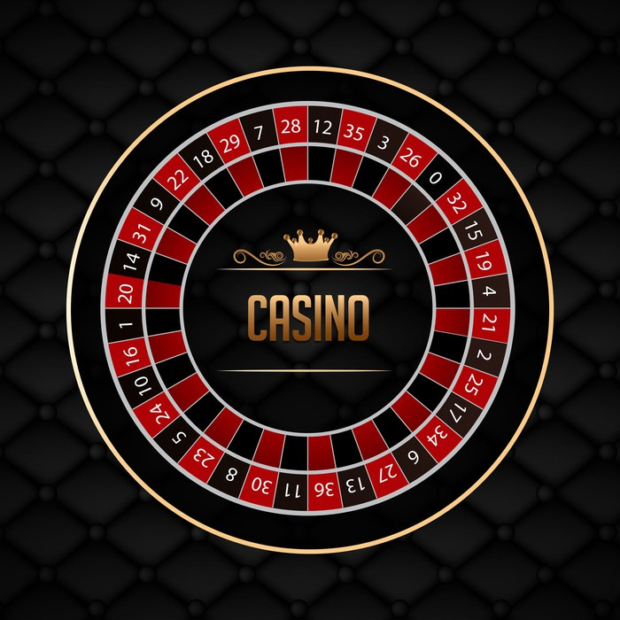 Stylized black and red roulette wheel surrounding the word CASINO