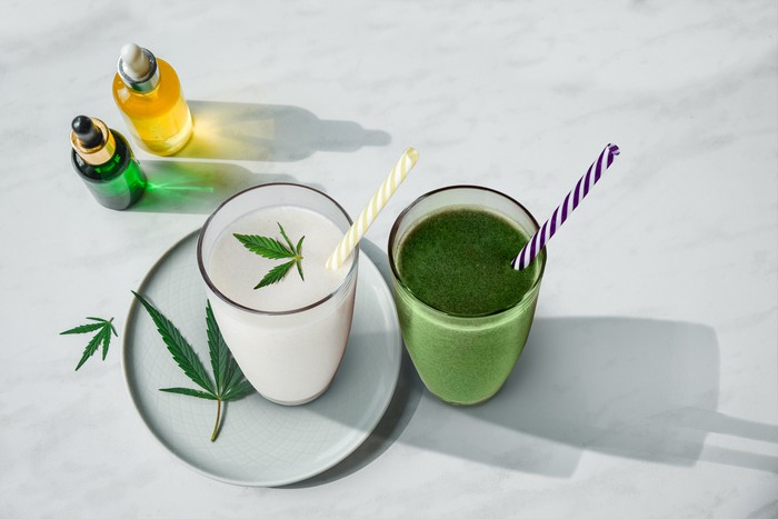 Stock photo of CBD beverages and oils.