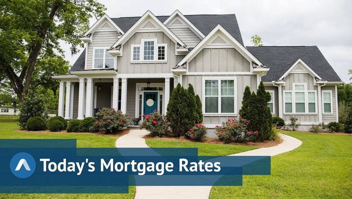Large modern-style suburban home with Today's Mortgage Rates graphic.