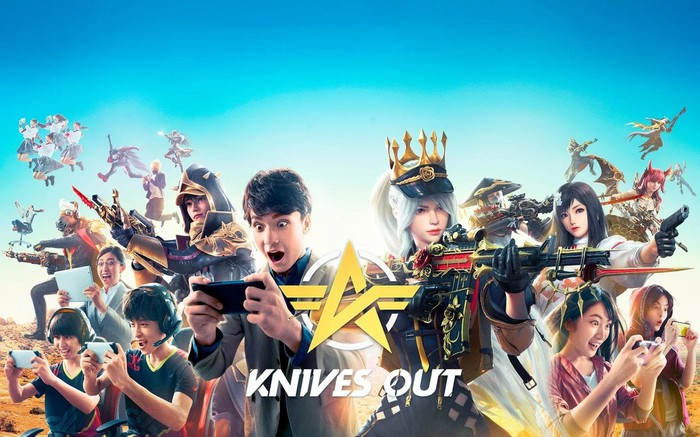 An image showing people playing NetEase's Knives Out and characters from the game