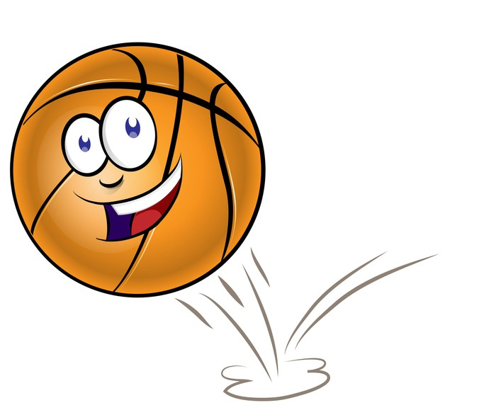 Bouncing basketball with a happy face on it