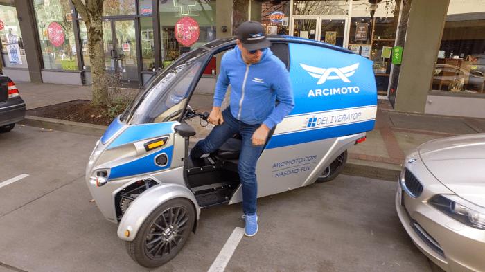 Arcimoto three-wheeled Deliverator vehicle
