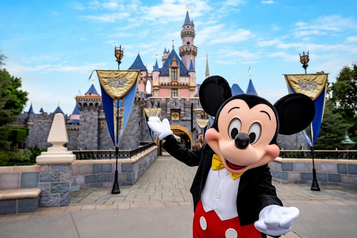 Mickey Mouse is welcoming guests to Disneyland.