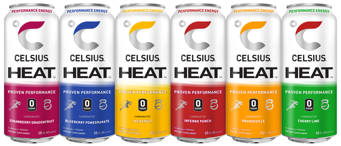 A lineup of Celsius Heat branded canned energy drinks.