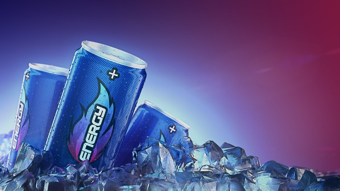 Generic energy drinks in blue cans resting in ice cubes.
