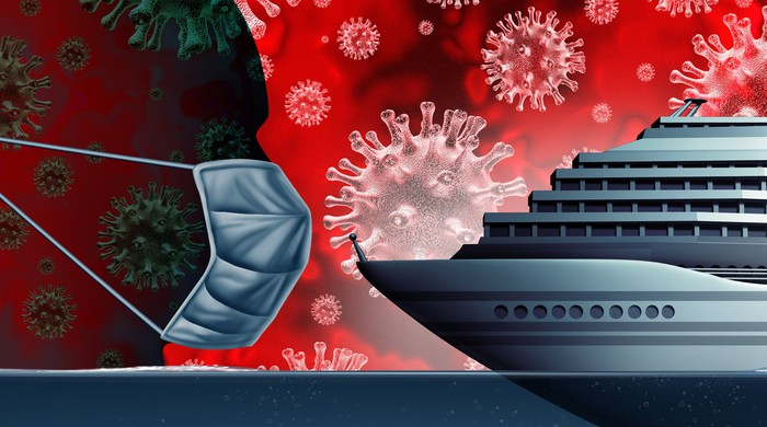 Silhouette of a man wearing a face mask and  facing a cruise ship with pictures of the virus in the background.